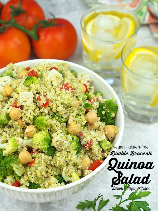 Big bowl of quinoa salad with text overlay