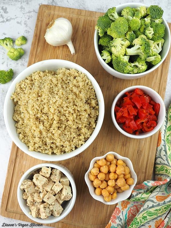 quinoa, broccoli, chickpeas, roasted red pepper, and tofu feta