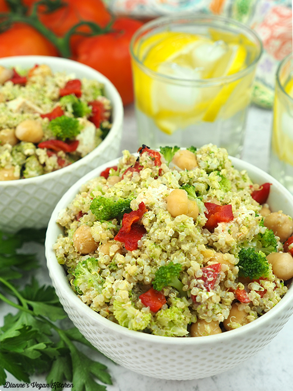 large bowl of double broccoli quinoa salad