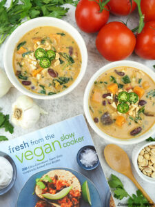 Two bowls of Peanut Stew from Fresh from the Vegan Slow Cooker by Robin Robertson cookbook