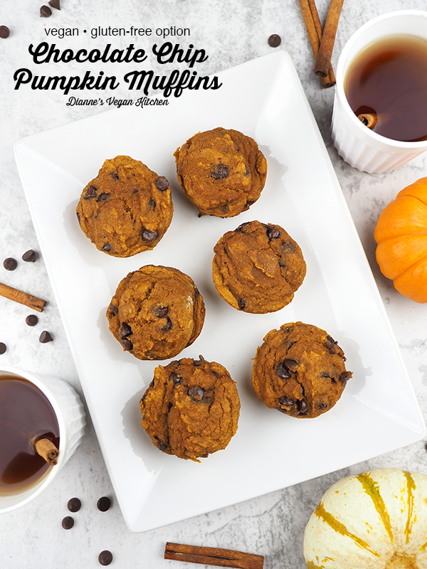 Vegan Chocolate Chip Pumpkin Muffins on platter with text overlay