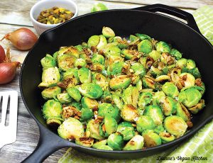 Pan Seared Brussels Sprouts with Caramelized Shallots and Toasted Pistachios