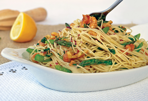 Zsu Dever's Scampi Pasta with Asparagus and Walnuts
