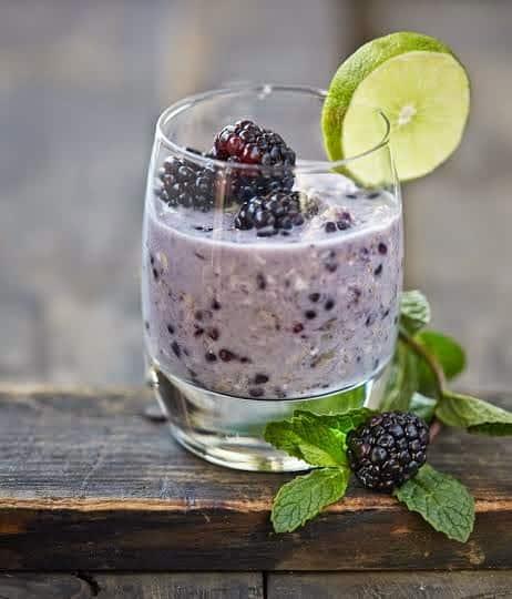 Blackberry Mojito Overnight Refrigerator Oats from Kathy Hester's OATrageous Oatmeals
