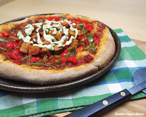 Chipotle Tempeh Pizza with Herbed Cashew Cheese Sauce >> Dianne's Vegan Kitchen