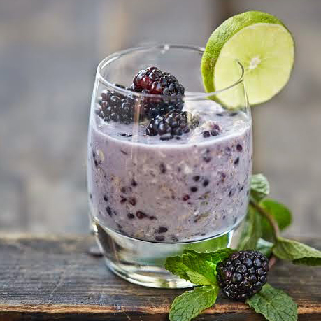 Blackberry Mojito Overnight Refrigerator Oats from Kathy Hester's OATrageous Oatmeals