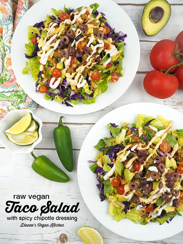 Raw Taco Salad with Spicy Chipotle Aioli and Cashew Sour Cream (vegan and gluten-free) >> Dianne's Vegan Kitchen