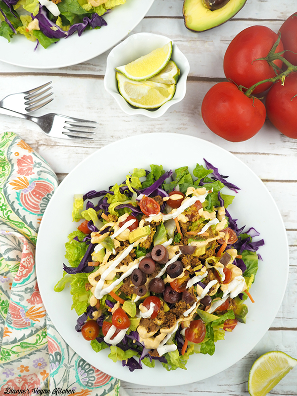Raw Taco Salad with Spicy Chipotle Aioli and Cashew Sour Cream