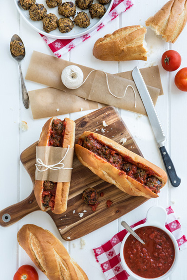 Eggplant Meatball Subs from But I Could Never Go Vegan