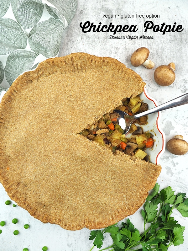 Chickpea Pot Pie from The Truly Healthy Vegan Cookbook with text overlay