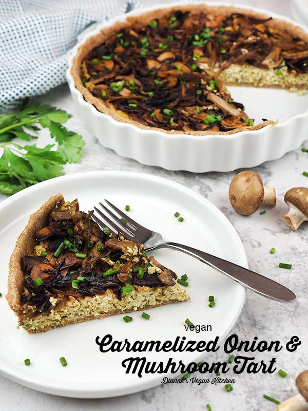 Vegan Caramelized Onion and Mushroom Tart slice with text overlay