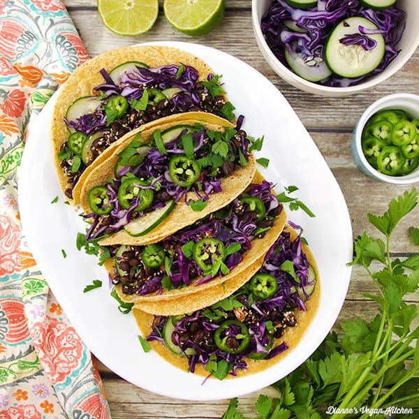 Sesame Black Bean Tacos