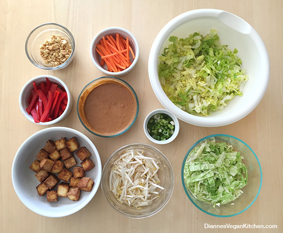 Stir-Fry Inspired Salad mis en place