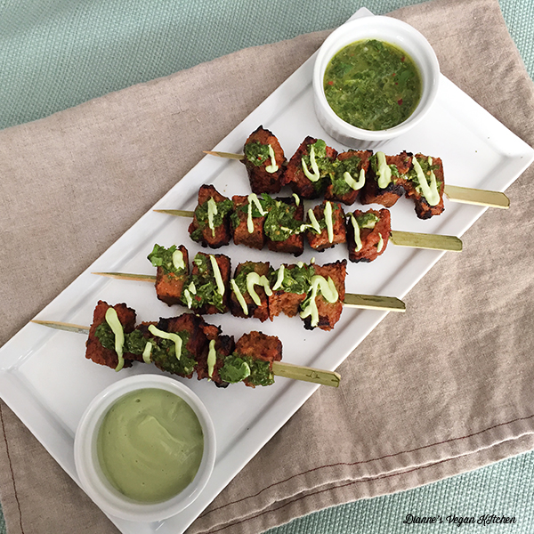 Seiten Skewers with Chimichurri and Jalapeno Lime Aioli >> Dianne's Vegan Kitchen