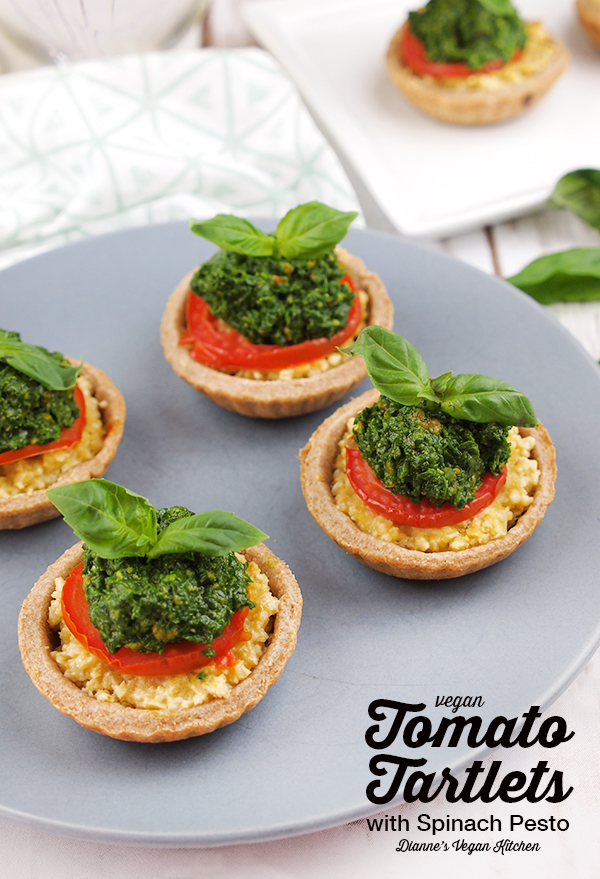 Vegan Tomato Tartlets with Spinach Pesto are the perfect appetizer for Christmas or Thanksgiving, and they're great for parties, too! >> Dianne's Vegan Kitchen