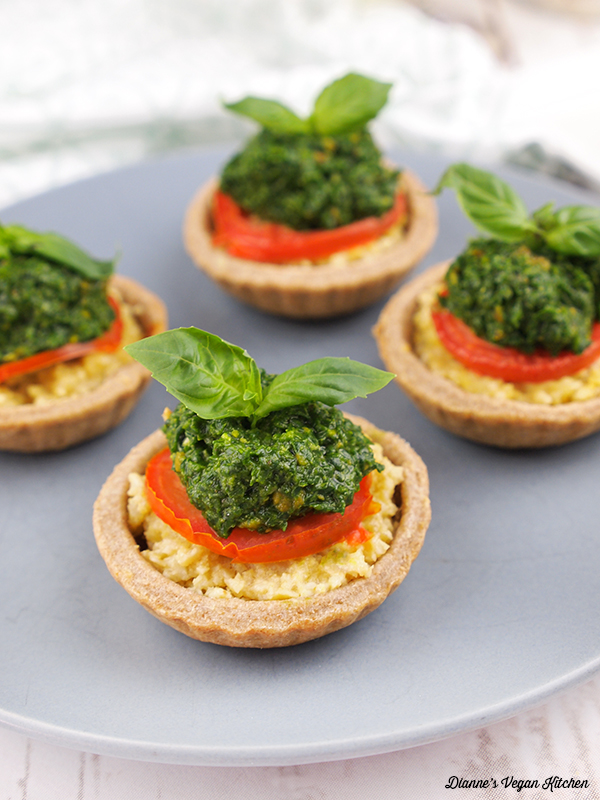 Vegan Tomato Tartlets with Spinach Pesto