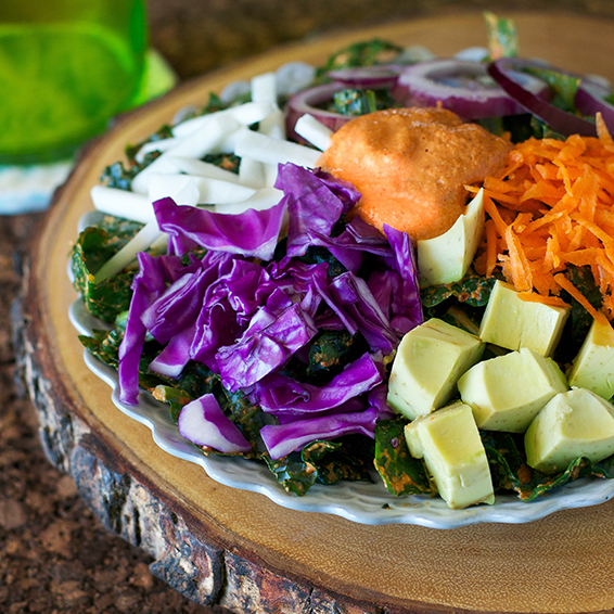 Rawkin' Rainbow Kale Salad from The Abundance Diet by Somer McCowan