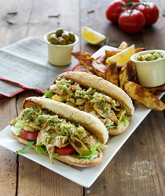 Artichoke Muffaleta Po Boys from Cook the Pantry by Robin Robertson