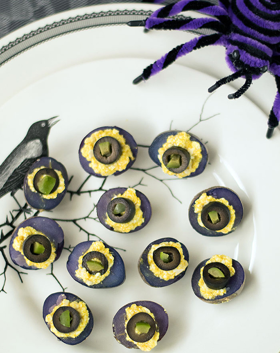 Vegan Deviled Purple Potatoes for Halloween from The Ghoulish Gourmet by Kathy Hester