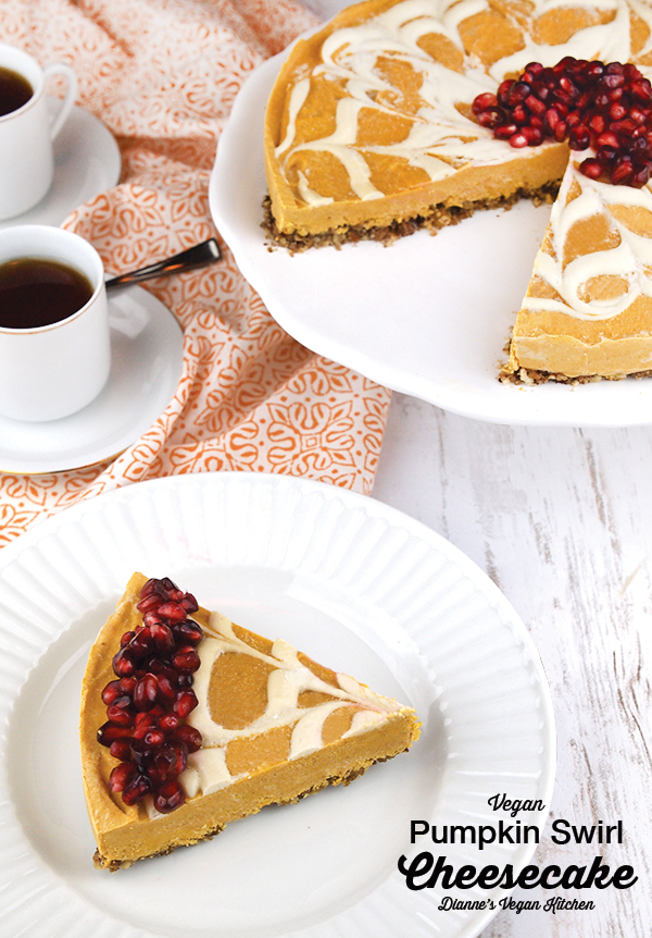 No-Bake Vegan Pumpkin Swirl Cheesecake – it's dairy-free and gluten-free, and perfect for Thanksgiving >> Dianne's Vegan Kitchen