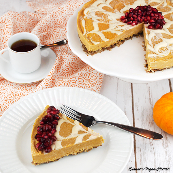 No-Bake Vegan Pumpkin Swirl Cheesecake