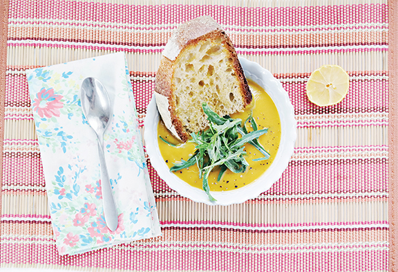 Creamy Butternut Squash & Kale Soup from The Plantiful Table by Andrea Duclos