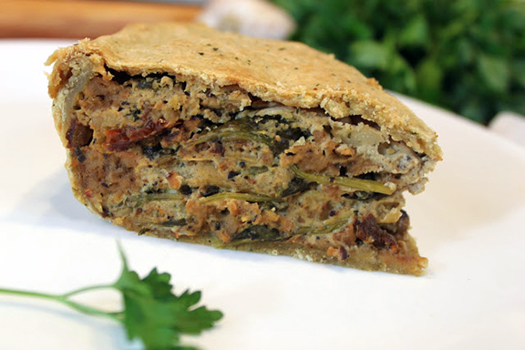 Zsu Dever's Artichoke and Sun-Dried Tomato Italian Easter Pie with Herbed Crust