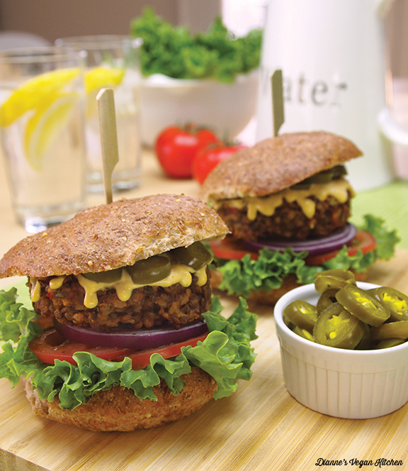 Chipotle Lentil Burgers from What's For Lunch by Dianne Wenz