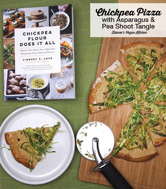 Chickpea Pizza with Asparagus and Pea Shoot Tangle from Chickpea Flour Does It All >> Dianne's Vegan Kitchen