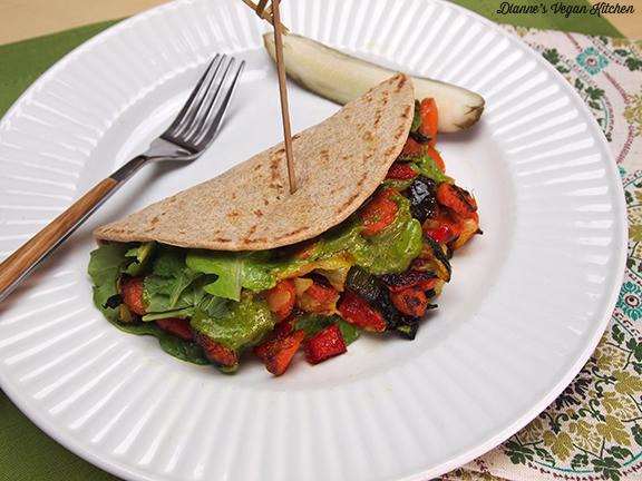 Grilled Veggie Pitas with Cilantro Lime Sauce from Pure and Beautiful Vegan Cooking