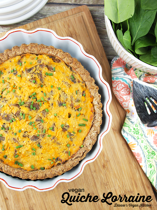 Vegan Quiche Lorraine from Baconish by Leinana Two Moons – perfect for Mother's Day, Easter, or any springtime brunch! >> Dianne's Vegan Kitchen