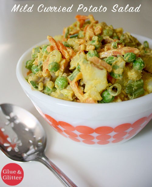 Mild Curried Potato Salad from Glue and Glitter