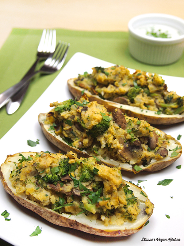 Leek and Wild Mushroom-Stuffed Potato Skins from Peace & Parsnips by Lee Watson, vegan and gluten-free