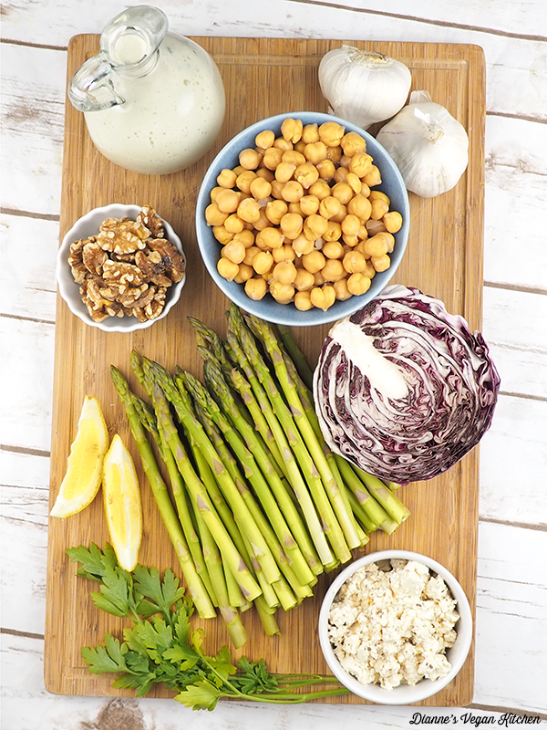 Asparagus and Chickpea Salad with Vegan Buttermilk Dressing ingredients