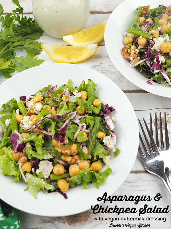 Asparagus and Chickpea Salad with Vegan Buttermilk Dressing (dairy-free & gluten-free) >> Dianne's Vegan Kitchen