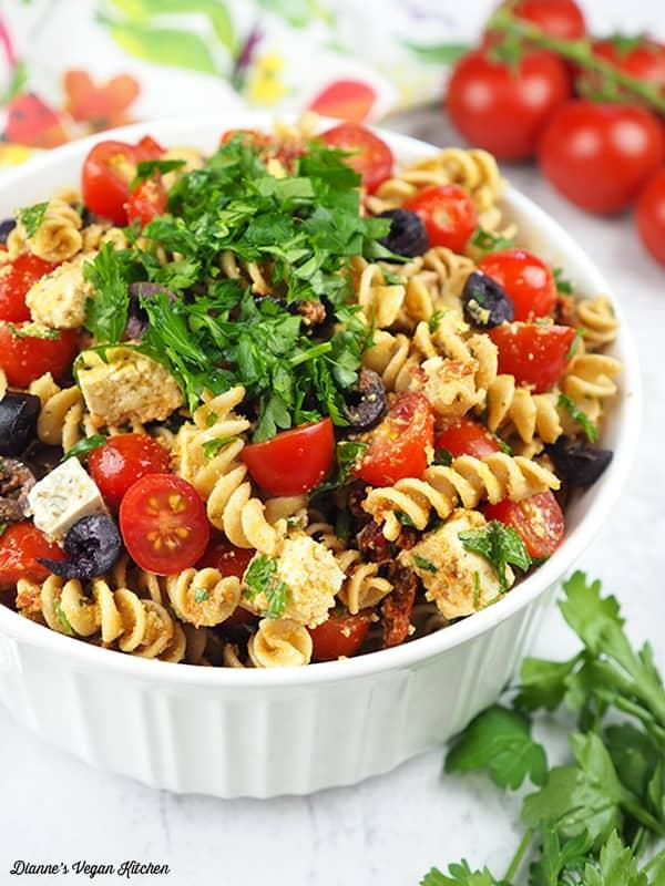 large bowl of vegan pasta salad