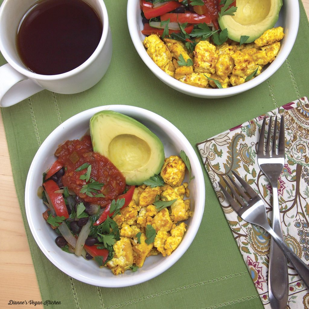 Scramble Burrito Bowl from Vegan Bowl Attack by Jackie Sobon >> Dianne's Vegan Kitchen