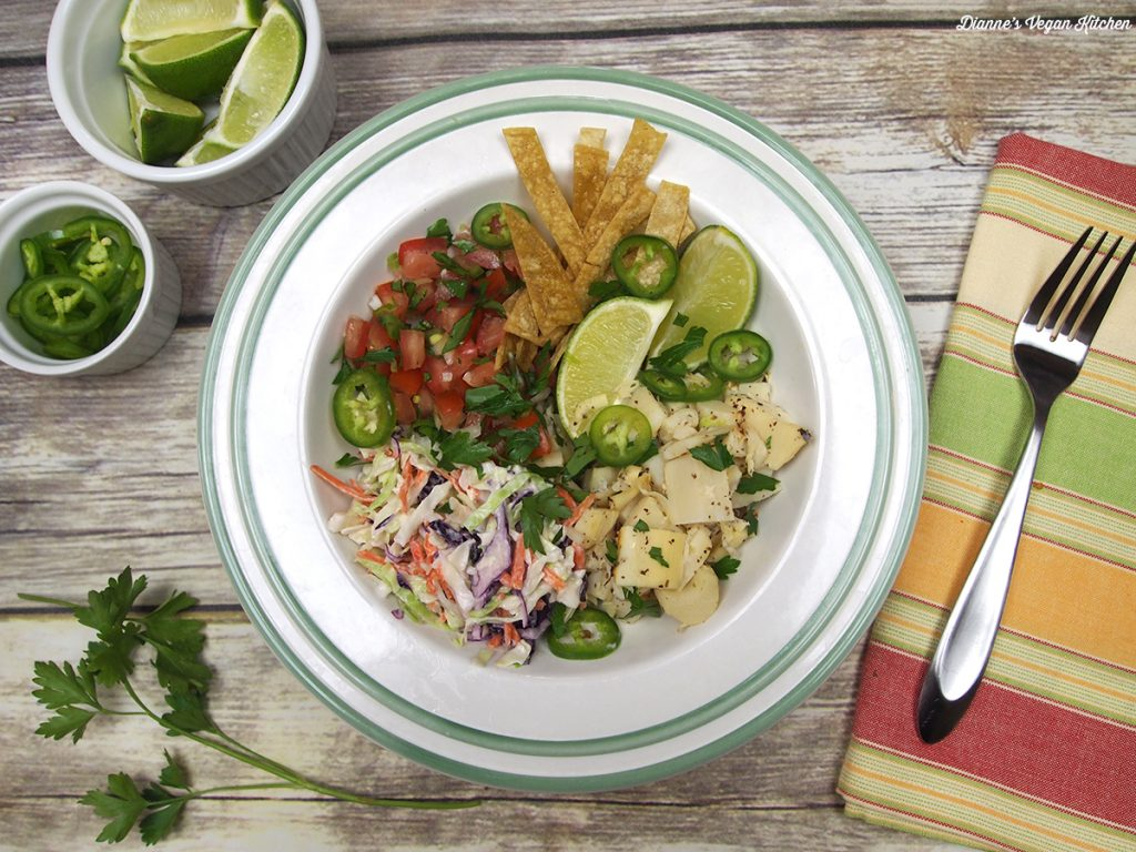 Vegan Fish Taco Bowl from Vegan Bowl Attack! by Jackie Sobon >> Dianne's Vegan Kitchen