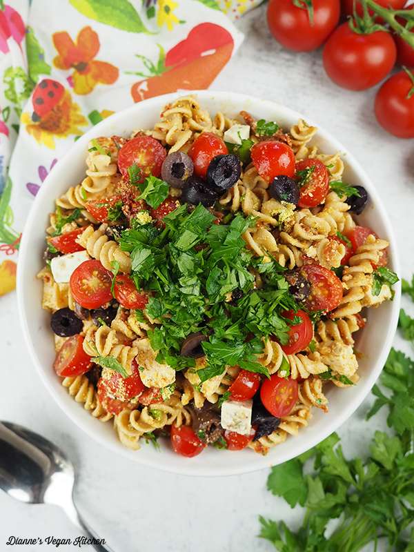 pasta salad in large bowl from above