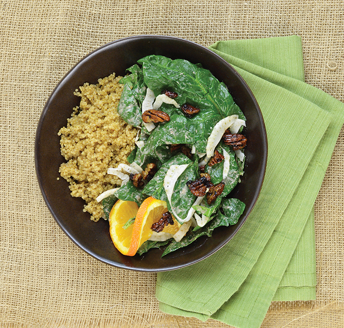 Zsu Dever's Spinach Salad Bowl with Warm Pecan Dressing