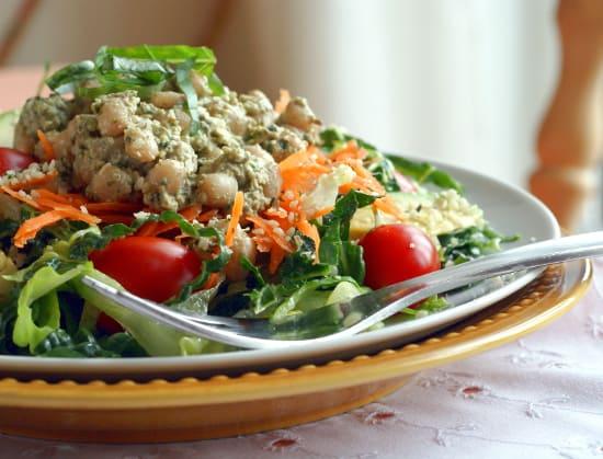 Ricki Heller's Pesto-Bean Topped Salad