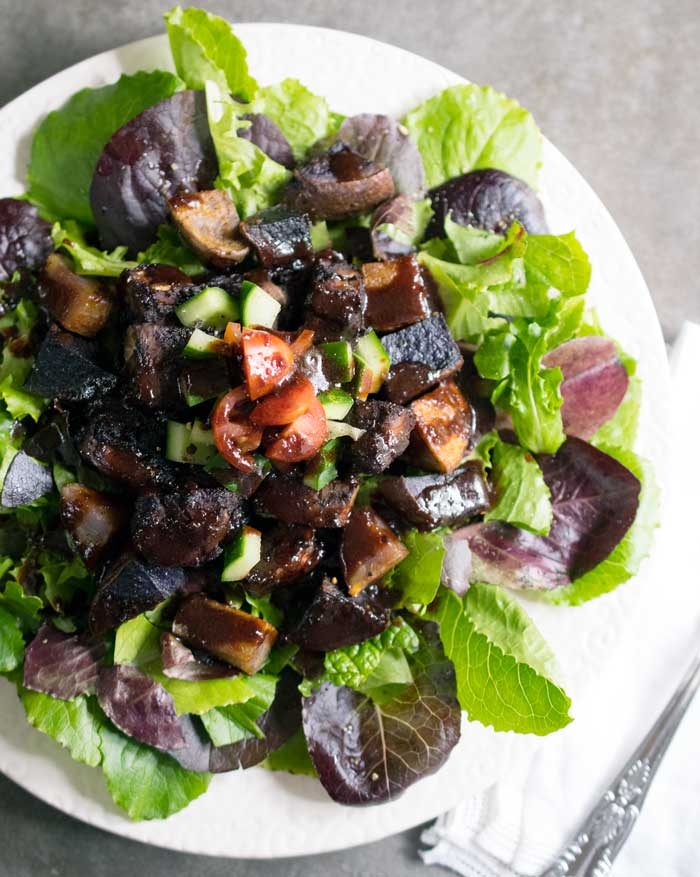 Kathy Hester's Blueberry Whiskey BBQ Salad with Tempeh and Roasted Potatoes