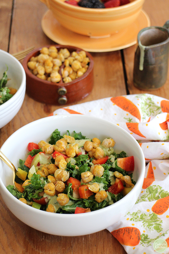 Cadry's Kitchen's Crave-Worthy Kale Salad & Roasted Chickpeas