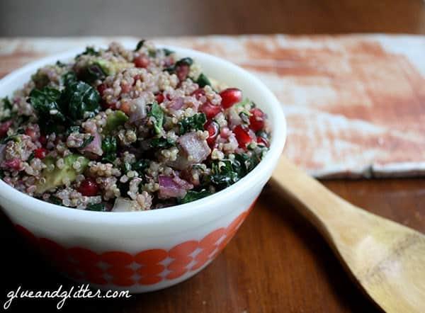 Glue and Glitter's Oil Free Kale and Quinoa Salad