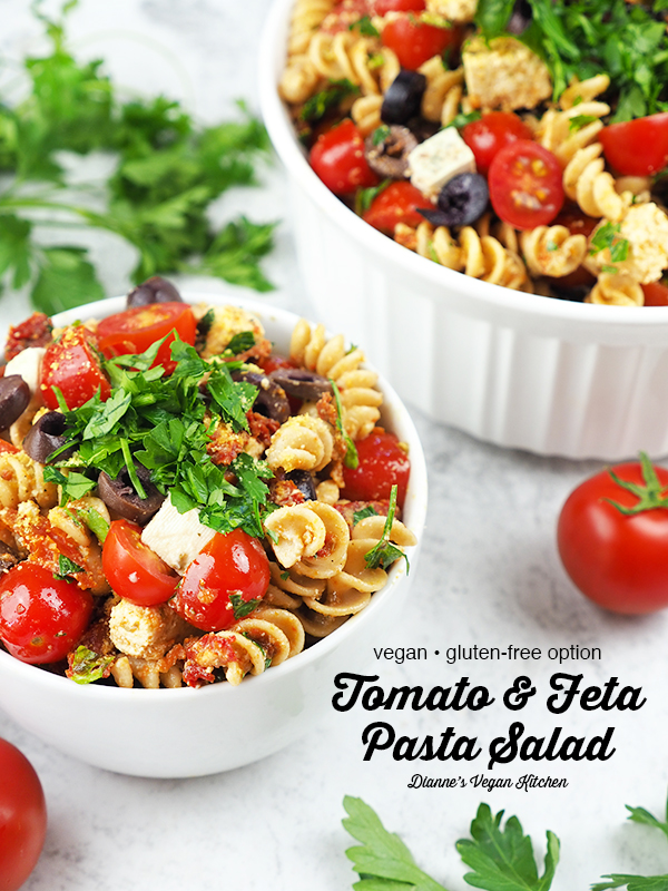 Two bowls of pasta salad with text overlay