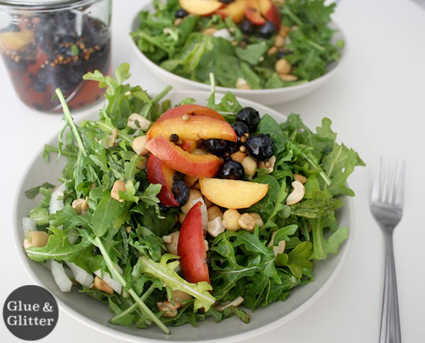 Glue and Glitter's Summer Salad with Pickled Peaches and Blueberries
