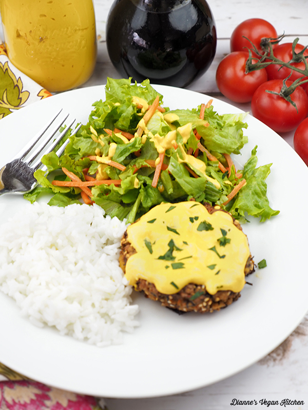 Hajiki Tofu Burgers with Ginger Miso Dressing