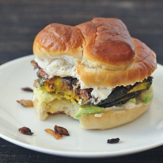 Spabettie's Caramelized Onion Kabocha Sandwich with Garlic and Avocado