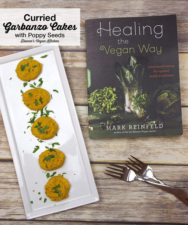 Curried Garbanzo Cakes with Poppy Seeds from Healing the Vegan Way >> Dianne's Vegan Kitchen