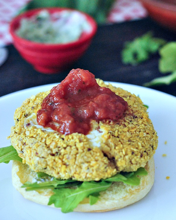 Kristina Slogget's Mozzarella Stuffed Chick-quin Burgers with Marinara and Basil Aioli